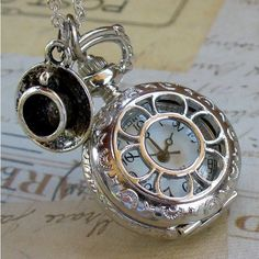 Alice in Wonderland Tea Party Steampunk pocket watch necklace... ($15) ❤ liked on Polyvore featuring jewelry, necklaces, pandora jewelry, womens jewellery, steampunk jewelry, steampunk pocket watch and steam punk pocket watch