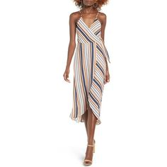 Women's Dee Elly Stripe Surplice Dress (€49) ❤ liked on Polyvore featuring dresses, pink, white dresses, pink midi dress, white midi dress, surplice dress and colorful dresses