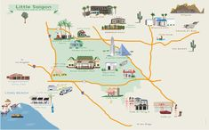 The client wanted a fun, whimsical illustrated map showcasing some of the local landmarks of Garden Grove and surrounding areas. Garden Mall, Walking Map, Illustrated Maps, Floor Plans, Illustration, David, Art, Image, Art Background