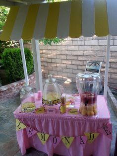 Pink lemonade baby shower. My hubby made me this lemonade stand for my best friend's baby shower. #pinklemonade #babyshower #lemonadestand