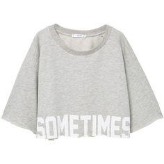 Text Crop Sweatshirt (41 BRL) ❤ liked on Polyvore featuring tops, hoodies, sweatshirts, crop, crop top, sweatshirt, three quarter length sleeve tops, patterned crop top, cotton 3 4 sleeve tops and 3/4 length sleeve tops