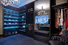 For those who enjoy the ultimate in luxury, a closet is more than just storage space. A luxury closet is your own personal showroom, a place to organize and display one's collection of designer bags, shoes, and apparel. Make A Closet, Walk In Closet, Closet Doors, Bedroom Wardrobe, Wardrobe Closet, Closet Space, Closet Vanity, Womens Closet, Luxury Closet