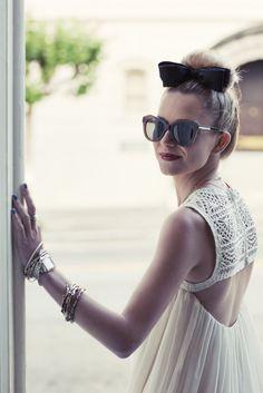 Dress: ADAM. Shoes: Zara. Bow: F21. Sunglasses: Karen Walker.