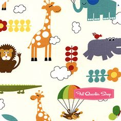 Bungle Jungle Ivory Critters Yardage SKU# 39501-11 - Fat Quarter Shop