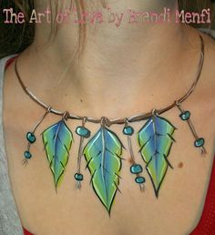 """Feather & bead face paint necklace by """"The Art of Love"""" by Brandi Menfi"""