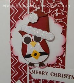 stampin up christmas punch art   owl punch, punch art, santa, christmas card   stampin up crafts