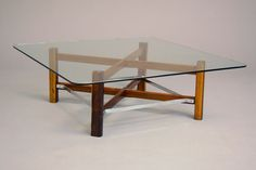Square Brazilian Rosewood, Chrome and Glass Coffee Table at 1stdibs