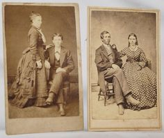 Lot of 2 Cartes de Viste CDVs Victorian Civil War Era COUPLES Man Woman