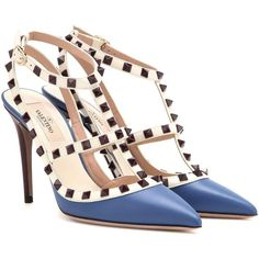 Valentino Rockstud Leather Pumps (2.280 BRL) ❤ liked on Polyvore featuring shoes, pumps, heels, sandals, valentino, blue, valentino shoes, heel pump, blue heeled shoes and blue heel pumps