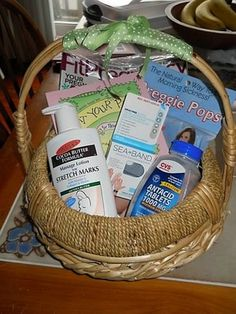 How to Make a Welcome to Pregnancy Basket... where was this like 2 weeks ago when I needed a gift for someone's big announcement?  o well... next one!