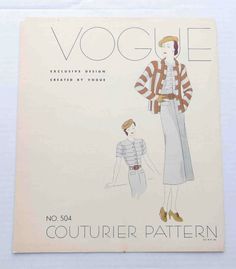 """1930s Vogue Couturier Dress Pattern Style 504 Display Advertising """"Page""""  Dress"""
