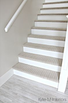 Stairs with carpet herringbone treads and painted white risers, looks like a runner. Benjamin Moore Edgecomb Gray on stairwell wall. Kylie M Interiors E-Design Stairs with carpet herringbone treads and painted white risers, looks like a run. Stairwell Wall, Tile Stairs, Basement Stairs, House Stairs, Hallway Paint, Wood Stairs, Open Stairs, Basement Kitchen, Attic Stairs