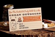 Camping Party Postcard Letterpress Invitation by TheGoodsShoppe, $18.50  http://www.etsy.com/listing/117875032/camping-party-postcard-letterpress