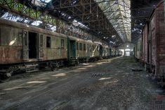 Istvántelki Főműhely, an abandoned railway vehicle repair shop, Budapest, Hungary
