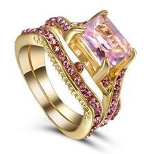 Unique Jewelry - Size7 Wedding Engagement Ring Set Pink Topaz Gemstone Propose Bridal Gold Plated