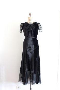 Vintage 1930s black silk velvet gown! by Trunk of Dresses