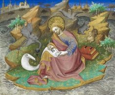 Sometimes, instead of angels, medieval scribes had the devil at their side spilling or stealing their ink pots to prevent them from writing the word of God. St. John the Evangelist doesn't look happy about having to re-make his ink.
