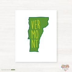 University of Vermont - Vermont Catamounts - Burlington Vermont Typography State Giclée Map Art by PaintedPost