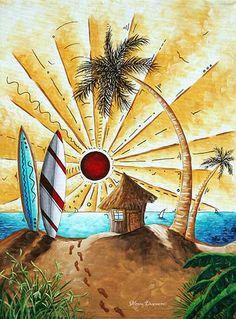 Pop Art Tropical Palm Tree Surfing Beach Hut Ocean by MADART (Art & Collectibles, Painting, original painting, madart duncanson, pop art style, pop art, whimsical whimsy, fun funky artwork, contemporary art, colorful art, interior design, seascape sea ocean, tropical tropics, palm tree, surfing surf surfer)