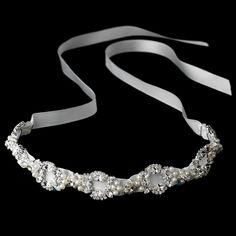 White Satin Ribbon Bridal Headband with Pearls - Affordable Elegance Bridal -