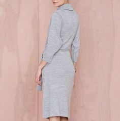 Gray turtleneck sweater dress tie waist top for women