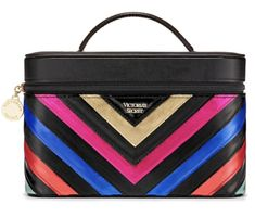 Victoria-039-s-Secret-Rainbow-Runway-V-Quilt-Vanity-Train-Case-NWT