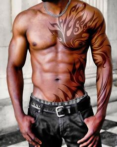 Masculine Chest Tattoo Ideas for Men: Cool Chest Tattoo Designs For Men ~ random. - Masculine Chest Tattoo Ideas for Men: Cool Chest Tattoo Designs For Men ~ random…, Masculine Ches - Tribal Tattoo Designs, Tribal Chest Tattoos, Tribal Tattoos For Men, Cool Chest Tattoos, Male Chest Tattoos, Geometric Tattoos, Awesome Tattoos, 3d Tribal Tattoo, African Tribal Tattoos