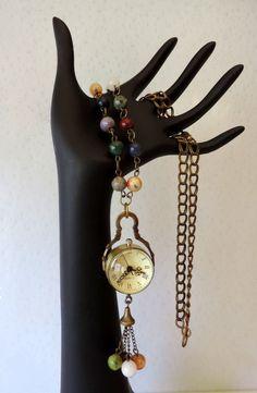Antique bronze multigemstone watch locket by BeadFashionDesigns