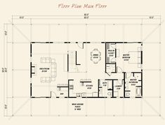 Pre-designed Ponderosa Country Barn Couture Home Main Floor Plan Layout