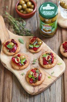 Mini pizzas aux poivrons et olives bio d'Edda Onorato