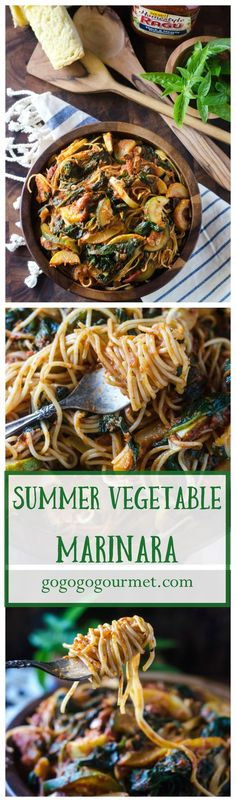 This quick weeknight pasta dish is packed with summer's bounty, and so hearty that you'd never guess it was vegetarian! | Summer Vegetable Marinara | Go Go Go Gourmet @gogogogourmet