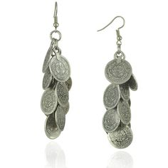 Exotic Ancient Gypsy Coin Tassel Earring ($7.16) ❤ liked on Polyvore featuring jewelry, earrings, fringe tassel earrings, tassel jewelry, gypsy earrings, coin jewelry and gypsy jewelry