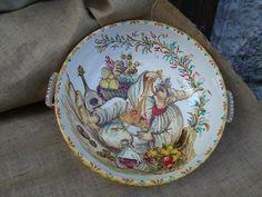 @@@. Spaghettiera in ceramica con pulcinella @@@