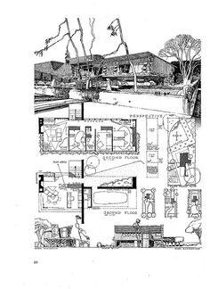 complex illustration, midcentury housing