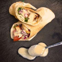 Chicken Shawarma Pita with Tahini Garlic Sauce