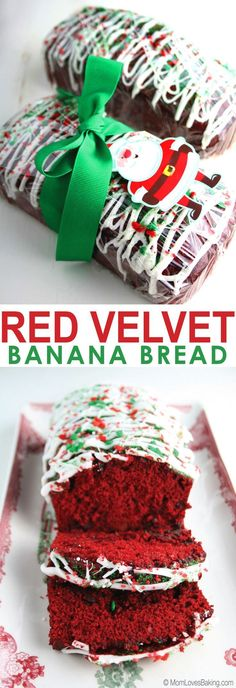 It's like banana bread and red velvet cake all at the same time. Plus it's drizzled with white chocolate and sprinkled with Christmas cheer! Great neighbor gift! http://www.momlovesbaking.com/red-velvet-banana-bread/