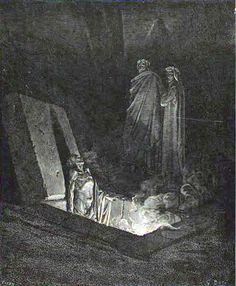 Inferno: Dante and Virgil before Farinata. Creator: Doré, Gustave Date: c.1868