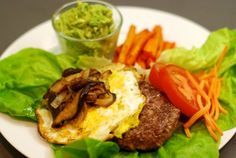 Quick Lamb Burgers Topped With Fried Egg and Sautéed Shiitake Mushrooms and Onions | Nom Nom Paleo