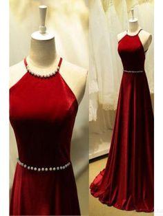 Awesome Red Evening Dress Halter Pearl Long Satin  Prom Dress Evening Dresses #SIMIBridal #promdresses... Check more at https://24myshop.cf/fashion-style/red-evening-dress-halter-pearl-long-satin-prom-dress-evening-dresses-simibridal-promdresses/