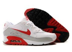 Ken Griffey Shoes Nike Air Max 90 White Grey Red [Nike Air Max 90 - A large number of people tend to choose Nike Air Max 90 White Grey Red shoes. These are very attractive sneakers with notable red branding, Nike swooshes and heel. The white leather Nike Air Max Plus, Cheap Nike Air Max, Nike Free, Air Max 90 Grey, Grey And White Nikes, Black White, Air Max 360, All Nike Shoes, Zapatillas Nike Air