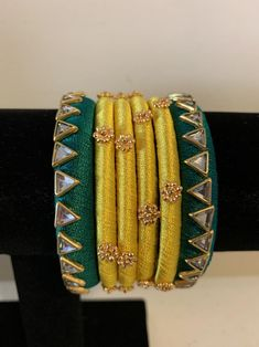 Your place to buy and sell all things handmade Silk Thread Bangles Design, Silk Bangles, Bridal Bangles, Thread Jewellery, Diy Jewellery, Jewelery, Jewelry Making, Gold Jhumka Earrings, Hand Ring