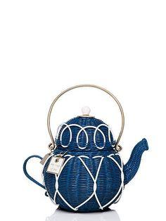 down the rabbit hole wicker teapot hangbag in teapot blue - Kate Spade New York