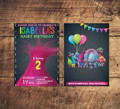TROLLS MOVIE INVITATION Fabric, chalkboard modern invitation, trolls birthday party, trolls black invite trolls birthday by TRUSTITI on Etsy