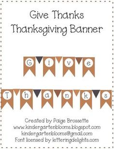 "FREE ""Give Thanks"" printable Thanksgiving banner"