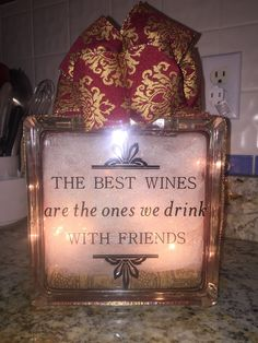 Wine with Friends glass block