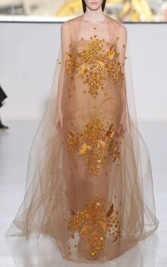 New York Fashion Week, preorder Delpozo Spring 2015 Runway Trunkshow Look 38- Yellow Print Embroidered Bobbinet Tulle Gown