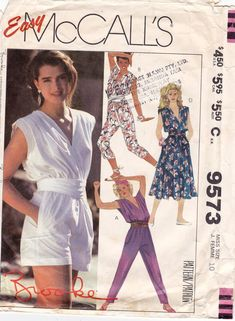 e94fb70cc29 80s Vintage Sewing Pattern McCalls 9573 Brooke Shields Dress and Jumpsuit  with belt Size 10 Bust 32 1 2