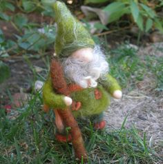 Green and Rust Gnome - Needle Felted - Waldorf Inpired