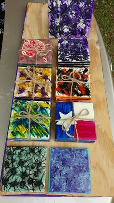 Sets of coasters all made with unicorn spit,