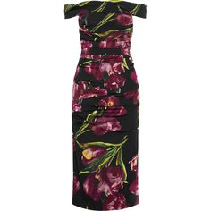 Dolce & Gabbana Off-the-shoulder floral-print stretch-silk charmeuse... (€1.890) ❤ liked on Polyvore featuring dresses, dolce & gabbana, vestidos, d&g, lavender, off shoulder midi dress, dolce gabbana dress, lavender dress, ruched midi dress and floral print dress